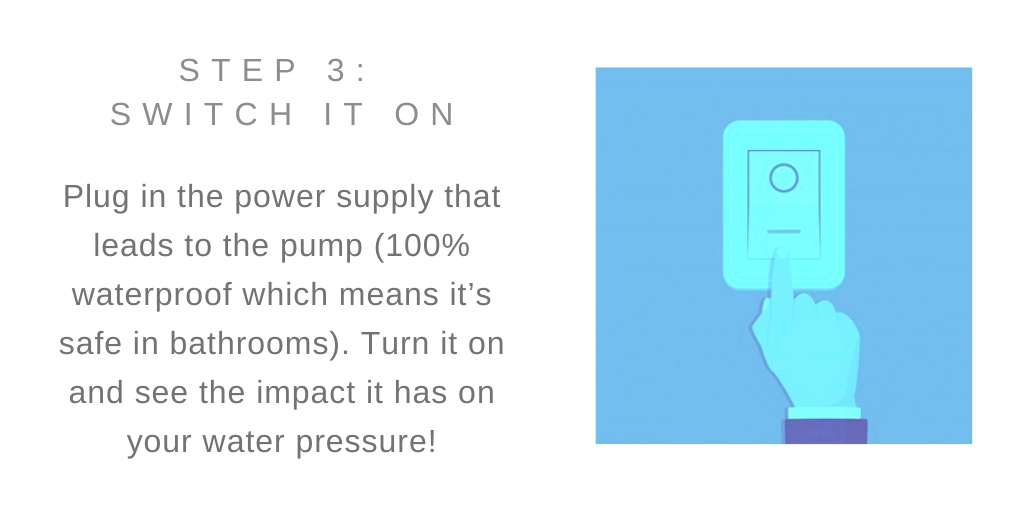 Illustration of blue hand turning on switch with text Step 3: Switch it on