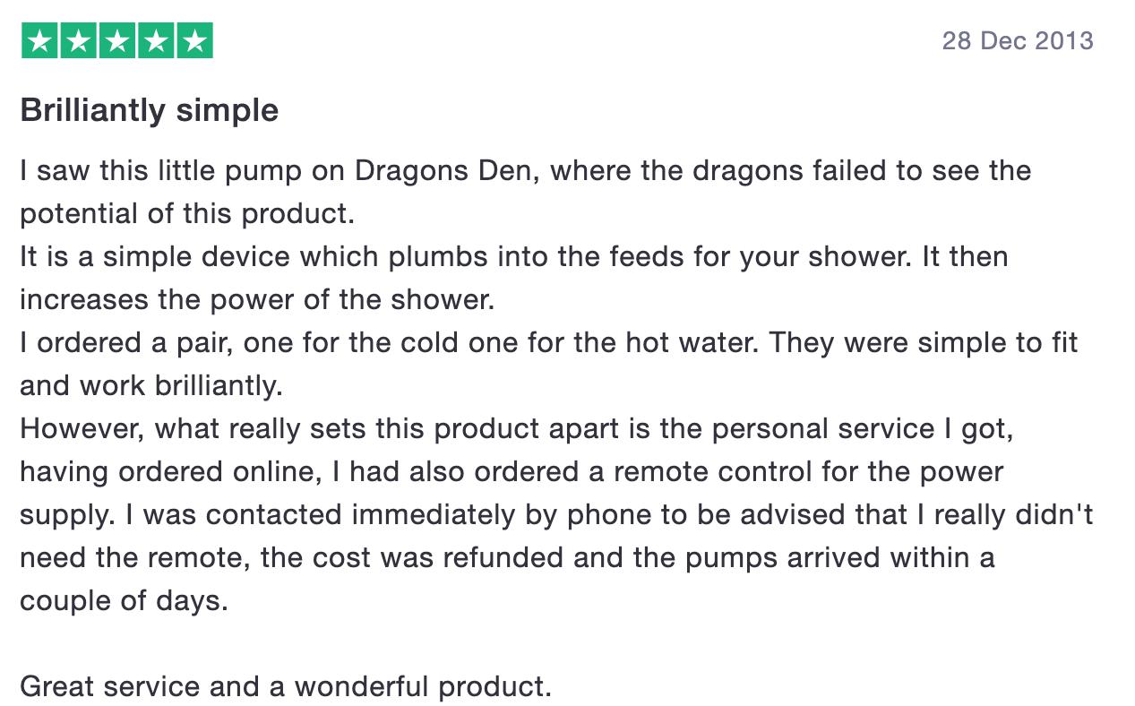First Trustpilot review